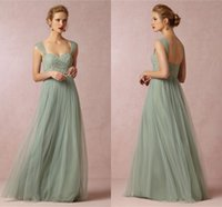 Wholesale simple gray bridesmaid dress - 2015 Long Bridesmaids dresses Simple Spaghetti A Line Floor Length Tulle and Lace Long Custom Made Cheap Formal Bridesmaid Gowns Sleeveless