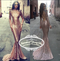 Wholesale Gown Dresses Shrug - Charming Amazing Gold Sequined High Neck Shrug Long Sleeve Mermaid Attractive Evening Dresses Backless Sexy Pageant Prom Gowns Vestidos Chic