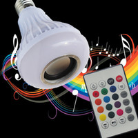 Wholesale Wholesale Bluetooth Speakers Remote - E27 Wireless Bluetooth Speaker +12W RGB Bulb LED Lamp 110V 220V Smart Led Light Music Player Audio with Remote Control