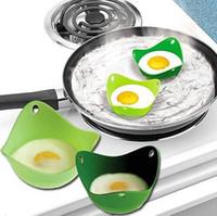 Wholesale silicone egg cooker resale online - Silicone Egg Cooker Silicone Egg Poacher Pod Egg Boiler non toxic Egg Steamer Peach Pod egg boiler