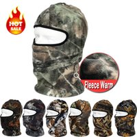 Wholesale Camouflage Skull Mask - Wholesale-Camouflage Thermal Fleece Balaclava Warm Winter Cycling Ski Neck Masks Hoods Paintball Hats Motorcycle Tactical Full Face Mask