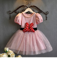 Wholesale Baby Pink Minnie Tutu Dress - 2016 Birthday Baby Girl Dress Princess Party Fancy Dress Sequins Girls Clothes Cute Minne Minnie Micky Polka Dot tutu Dress