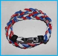 titan geflochtenes sportarmband großhandel-3 Seile Tornado Sport Titan Halskette geflochtene Halskette Armband Titanium Ionic Sports Baseball Halskette 16/18/20/22 Zoll
