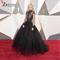 Wholesale Celebrity Tulle Oscar Dresses - Dorith Mous Red Carpet Dresses 2016 Oscar High Neck Sheer Lace Evening Dresses Long Sleeves Ball Gown Long Celebrity Dresses