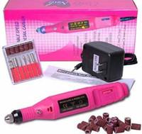 pedaços de ferramentas para brocas venda por atacado-Prego Elétrica Máquina de Broca Art Salon Manicure Arquivo Polonês Ferramenta + 6 Bits Pedicure 20000RPM (100 V ~ 240 V) DHL Livre JJD1925