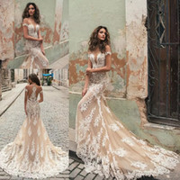 Wholesale berta bridal for sale - Berta Champagne Mermaid Wedding Dresses Illusion Neck White Lace Appliqued Short Sleeves Court Train Bridal Gowns