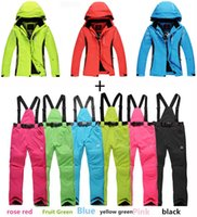 Wholesale Cheap Multi Colored Dresses - Wholesale-CHEAP pure colors Women Men Ski Suit Sets outdoor Sports Waterproof&Windproof Snowboard Clothing warm dress Skiing