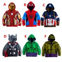 Wholesale Winter Hoodies For Men Wholesale - Avengers Captain America iron man thor Hulk Hoodies Jacket Children Cartoon Superhero Costume Kids Winter Clothes Sweatshirt for boys A-0226