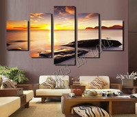 paint stone wall - 5 Piece Hot Sell Diamond Sunset Beach Stone Modern Home Wall Decor Canvas Picture Art HD Print Painting