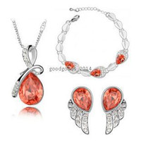 Wholesale Light Blue Crystal Wedding Jewelry - High quality fashion Austrian crystal teardrop pendant necklace earrings bracelet women jewelry sets z090