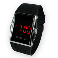 Wholesale Electronics List - 50 pcs New Listed fast Shipping Square Stainless Steel Back woman Men s Digital Electronic LED Watch Red Light
