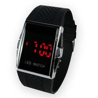 50 pz Nuovo Listed fast Shipping Quadrato Acciaio Inox Back donna Uomo s Digital Electronic LED Watch Red Light