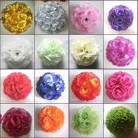 Wholesale arcade lights - 6 Inch 15cm Simulation Artificial Rose Silk Flower Kissing Balls Wedding Hotel Arcade School Opening Ceremony Decorations Hanging Ball
