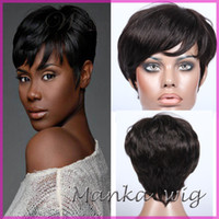 Wholesale Short Chic Wigs - human hair wigs unprocessed 7A top grade front full lace human hair wigs machine made glueless Rihanna Chic Cut Short Wigs for black women