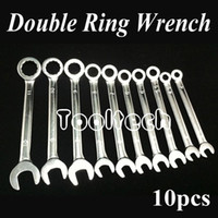Wholesale Brass Wrench - Freeshipping Metric 10 sizes Chrome Vanadium Steel Ratchet Wheel Dual-use Open   Ring Spanner Combination Wrenches Set Tools Kit
