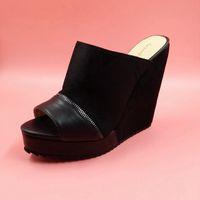 Wholesale Cheap Women Wedges - 2016 Custom Made Plus Size Womens Sandals Wedges Cheap Modest High Heels Peep Toe Ladies Party Sandals Womens Shoes Fashion Elegant SHoes