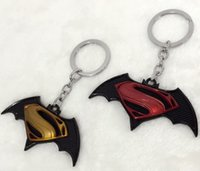 Wholesale Dawn Women - 2016 Superman vs Batman key rings coming movie dawn of justice car chains superman fans alloy key chain ring
