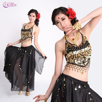 Wholesale Indian Dancing Skirts - Hot Factory New Adult Indian Pepper Belly Dance Costumes Sequined Show Performances Skirt Stage Wear Skirt Suit A0330