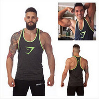 Wholesale Yellow Vest Free Shipping - Free Shipping 100% Cotton Gymshark Tanks Men Brand Muscle Tank Top Gym Shark Fitness Clothes Men Bodybuilding Vest Undershirt