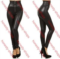 Wholesale Leather Leggings Hot - Hot Sale 2015 Fashion Sexy High Waist Leggings For Women Zipper Lady Skinny Leggings