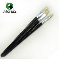 Wholesale Paintbrush Bristles - Wholesale-Marie's Bristle Flat Paintbrushes Wood Handle 12pcs Set Brushes For Oil Painting Acrylic Painting Art Supplies