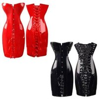 Wholesale Faux Leather Bustier Dress - 2016 New Women Noble PVC Leather Erotic Bustier Hook Busk Top Corset with Dress Black Red