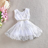 Summer Knee-Length Tutu Crystal Sparkle Sheer Overlay Dress Korean Style Girl Dress Baby Girl Sequin Dress Kids V-neck Silver Sequin Dress With Matching Pearls Belt