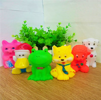 Wholesale Play Safe Kids - 6 Colors Pretty Rubber Animals Eco Friendly Safe Baby Bath Water Toys Press Sounds Kids Bathing Swiming Beach Gifts Sand Play Water
