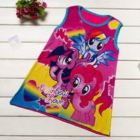 Wholesale Love Lace Dress - Little Pony Girls Dress Twilight Sparkle Rainbow Love Children Summer Princess Dresses Tank Tops Cartoon Girl Clothes