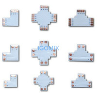 Wholesale Led Light Strip Connector L Shape - led strip light connector L T + cross shaped for 3528 5050 single color RGB led strip