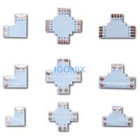 l şerit konektör toptan satış-Led şerit ışık konnektörü L T + çapraz 3528 5050 tek renk RGB led şerit için şekilli