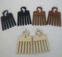 black wood earrings - African and American Wood Comb Fashion Folk Style Earrings Female pairs