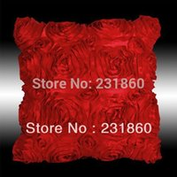 Wholesale 3d Rose Pillow Case - Wholesale-2 X 3D Square Raised Scrolled Rose Red Cushion Cover Sofa Throw Pillow Case