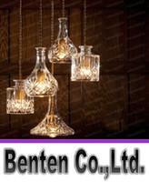 Wholesale Amber Glass Knobs - 4pcs lot Glass Bottle Pendant light Transparant  Amber Pendant Lamp for Bar Kitchen Minimalism Hanging Glass lamps LLFA4776F