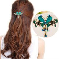 старинные шпильки оптовых-Новые старинные женщины элегантный драгоценный камень бабочка цветок заколки для волос заколка Кристалл бабочка лук зажим для волос Волосы