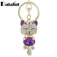Wholesale Cute Cat Keychains - Cute Cat Crystal Rhinestone Keyrings Key Chains Rings Holder Purse Bag For Car Lovely Keychains K218C
