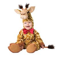 vestido de las muchachas de la vaca al por mayor-Lovely Animal Halloween Outfit para Baby grow Infant Boys Girls Baby Fancy Dress Traje de Cosplay Honeybee / Butterfly / Cow / Jirafa