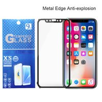 Wholesale Curved Metal - HD 3D Curved Metal Edge Tempered Glass Screen Protector For iPhone X 8 7 6 6s Plus Titanium Alloy Toughened Protective Film