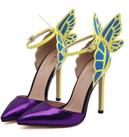 Wholesale Colorful Vampire - 2016 Fashion purple women's shoes JC vampire diaries heroine colorful butterfly high-heeled shoes wedding shoes yellow shoes size:35-40#609
