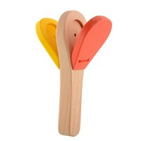 Wholesale Instrument Clapper - Lovely Kids Child Baby Wooden Castanet Clapper Handle Musical Instrument Toy Early Educational Hand Clapper