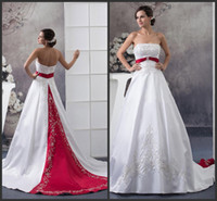 Wholesale Empire Strapless Beaded Court Dress - Vintage Red and White Wedding Dresses 2016 Sexy Bling Beaded Embroidery Strapless Stunning A Line Backless Satin Bridal Gowns Court Train
