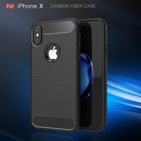 Wholesale rubber apple - Carbon Fiber Case For iPhone X 6 6S 7 8 Plus 5 5S SE Luxury Texture Brushed Silicone Soft Rubber Back Cover Slim Armor Rugged Skin