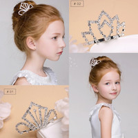 Wholesale crystal headbands for flower girls - Crystal Diamond Girls Headpieces Kids Crown for Flower girl Rhinestone Girls Head Pieces Junior Bridesmaid Wedding Accessories Headband
