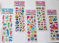 Wholesale Toys For Schools - marine animal and tropical fish stickers for kids children stickers toy sea life funny puffy stickers kids rewards school