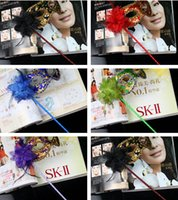 Wholesale Masquerade Masks Handles - hands Feather Flower Mask Hot Sale NEW Valentine's Day Masquerade Mask Princess Mask Handle Mask Hollo ween Day Party Mask 10pcs lot