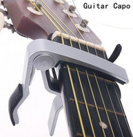 Wholesale Acoustic Capo - High Quality New Aluminium Alloy Silver Quick Change Clamp Key Acoustic Classic Guitar Capo For Tone Adjusting Hot