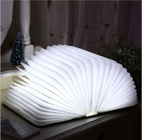 neuheit usb häfen großhandel-2016 neuheiten Neuheit Holzklapp LED Nachtlicht Led Lampe Booklight Wiederaufladbare Faltbuch Nachtlicht Luminaria USB Port