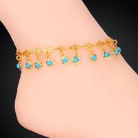 piedras de pulseras de platino al por mayor-Encantos de las piedras azules de la turquesa de las mujeres cadenas del tobillo joyería de la sandalia plateada oro 18K / Platinum Pulseras de los tobillo del verano