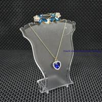 set de joyas al por mayor-Popular soporte de exhibición de la joyería Negro Blanco Claro Mini Tamaño de Plástico Cuello Busto Collar Colgante Soporte Soporte Pendiente Set Soporte Rack