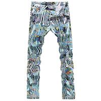 Wholesale Trouser Draw - Wholesale-Men's color drawing stripe print jeans Fashion rivet elastic denim pants Flower trousers Free shipping